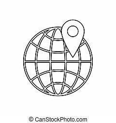globo, y, mapa, Pointe, icono, contorno, estilo
