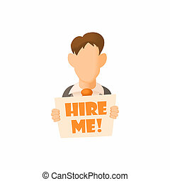 Male avatar with sign Hire me icon, cartoon style - Male...