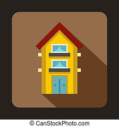 Yellow two storey house icon, flat style - icon in flat...
