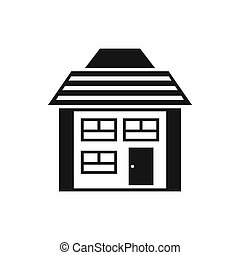 Two-storey house with sloping roof icon in simple style...