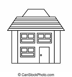 Two storey house icon, outline style - Two storey house icon...