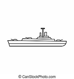Military navy ship icon, outline style - icon in outline...