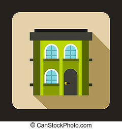 Green two storey house icon, flat style