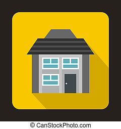 Grey two storey house icon in flat style - icon in flat...