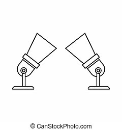 Two spotlights icon in outline style