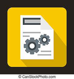 Gears on a paper icon in flat style - icon in flat style on...