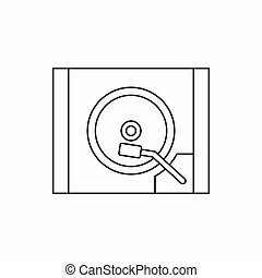 HDD icon in outline style - icon in outline style on a white...