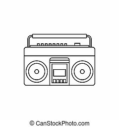 Classic boombox icon, outline style - icon in outline style...
