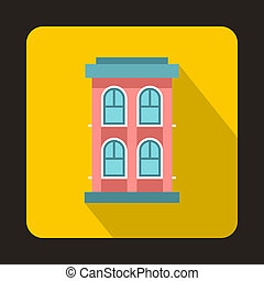 Pink two storey house icon, flat style - icon in flat style...
