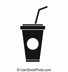 Paper cup with straw icon, simple style - Paper cup with...