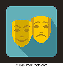 Comedy and tragedy theatrical masks icon - icon in flat...