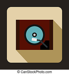 HDD icon in flat style - icon in flat style on a beige...