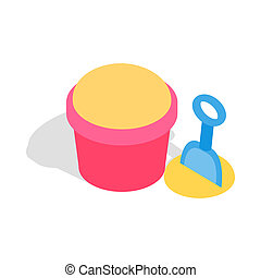 Bucket and shovel for childrens sandbox icon - icon in...
