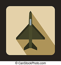 Fighter airplane icon, flat style - Fighter airplane icon in...