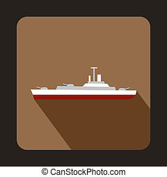 Military ship icon, flat style - Military ship icon in flat...