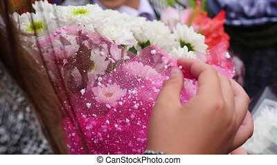 girl with a beautiful bouquet of flowers