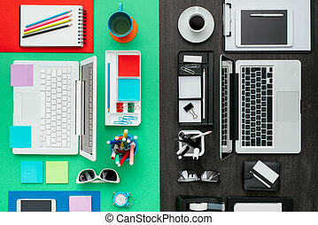 Customized office workspace: creative and colorful desktop...