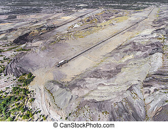 Surface coal mining in Poland Destroyed land View from above...