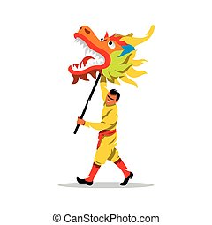 Vector Chinese dragon and man dancing in traditional...