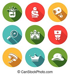 Vector Set of Nuthouse Icons - Helmet, Patient, Pills,...