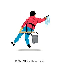Vector Window washer. Cleaning service. Cartoon...