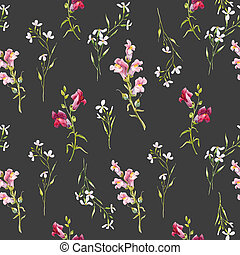 Watercolor snapdragons pattern - Beautiful pattern with hand...