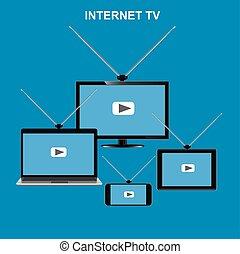 internet tv concept, vector