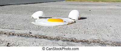 Egg frying on a hot sidewalk - An egg frying on a hot...
