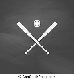 baseball computer symbol - baseball Simple vector button....