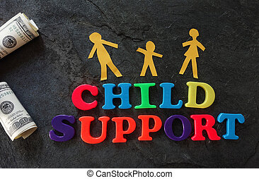 Child Support family - Paper family with Child Support...