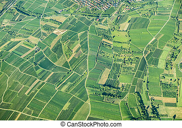 scenic view to fields in the rural area in rhineland...