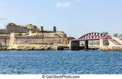 harbor in La Valetta, Malta - ancient harbor in La Valetta,...
