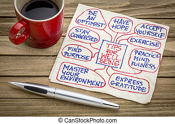 tips for well being on napkin - tips for well-being chart or...