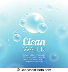 Clean Purified Water Vector Background. Transparent floating...