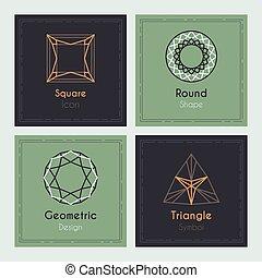 Trendy Cards with geometric symbols Precious diamond stones...