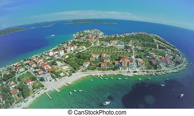 Sevid near Marina, aerial - Copter aerial view of the Sevid...