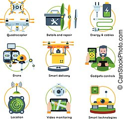 New Technologies Concept Icon Set
