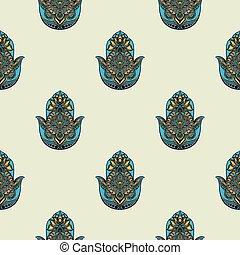Seamless pattern with hamsa - Drawing of a seamless pattern...