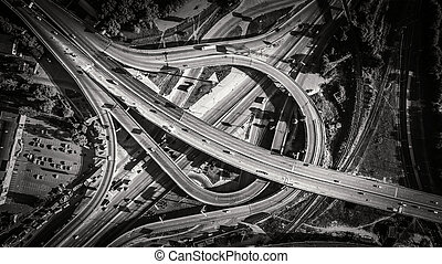 Aerial view of highway interchange. South Bridge. Kiev,...