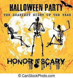 Halloween party greeting card, vector illustration