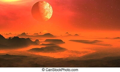 Decline Moon On A Hot Planet - Rocks and hills alien planet,...
