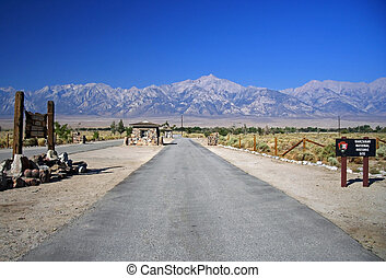 Manzanar Main Road - Main entrance to Manzanar National...