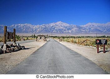 Manzanar Main Road - Main entrance to Manzanar National...