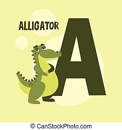 letter on a yellow background. alligator vector image