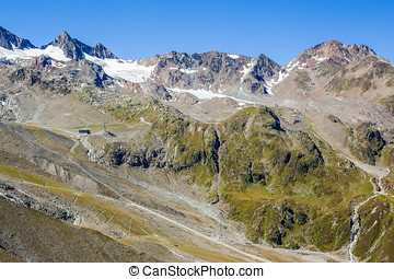 View of the Stubai glacier, mountains and peaks, Hiking in...