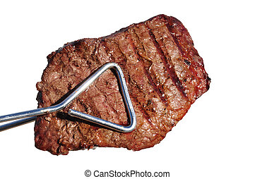 Tongs Holding Grilled Beef Loin Top Sirloin Steak Isolated...