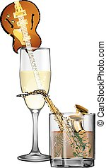 jazz instruments by the glass with alcohol