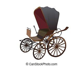 viejo, vagón, para, el, caballos, aislado, en, blanco, Plano...