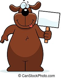 Dog Sign - A happy cartoon dog with a sign.