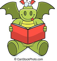 Dragon Reading - A happy cartoon dragon reading a book